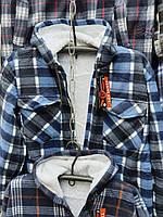 Рубашка теплая мужская на меху норма с капюшоном