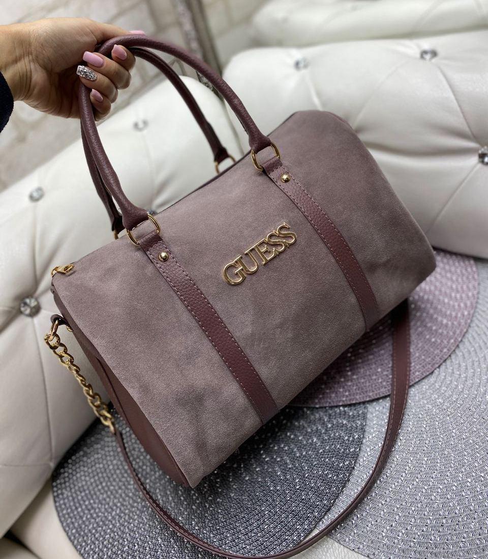 Замшевая вместительная женская сумка бочонок саквояж стильная темная пудра натуральная замша+кожзам