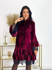 Бархатное платье с кружевом 50-605