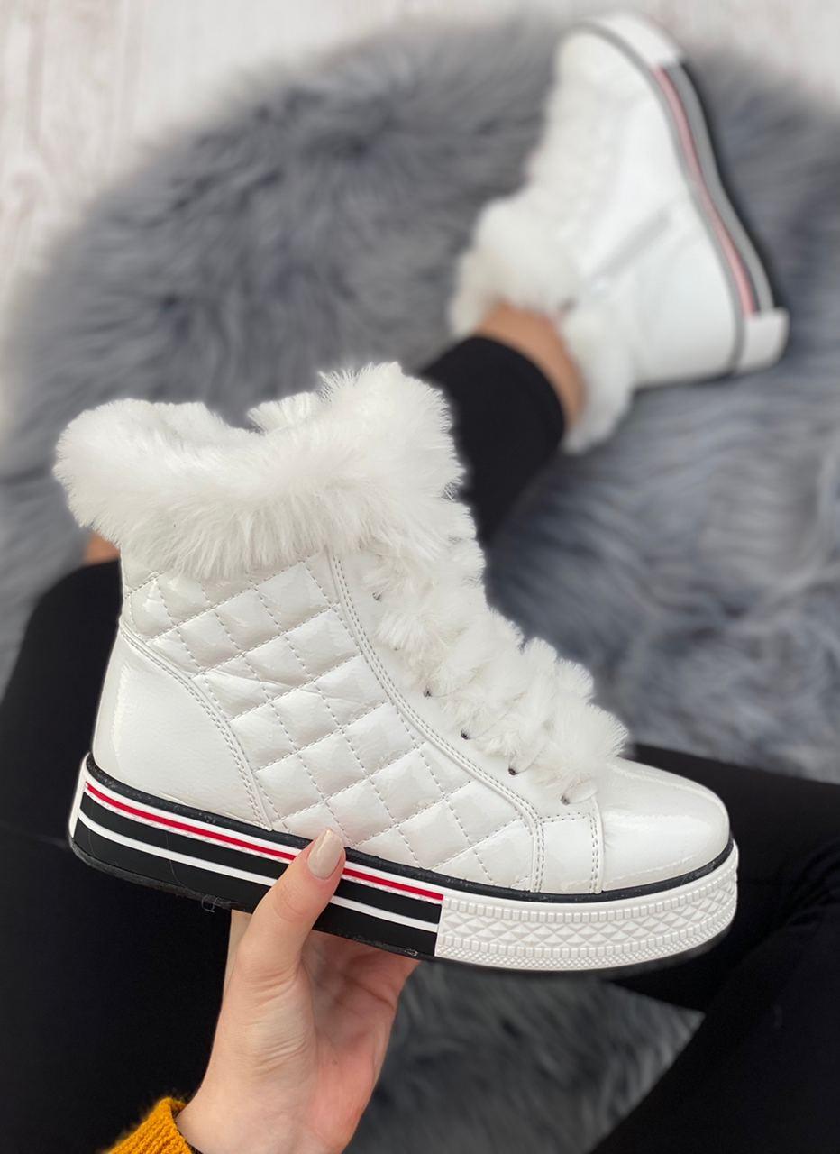 Ботинки женские зимние 8 пар в ящике белого цвета 36-41