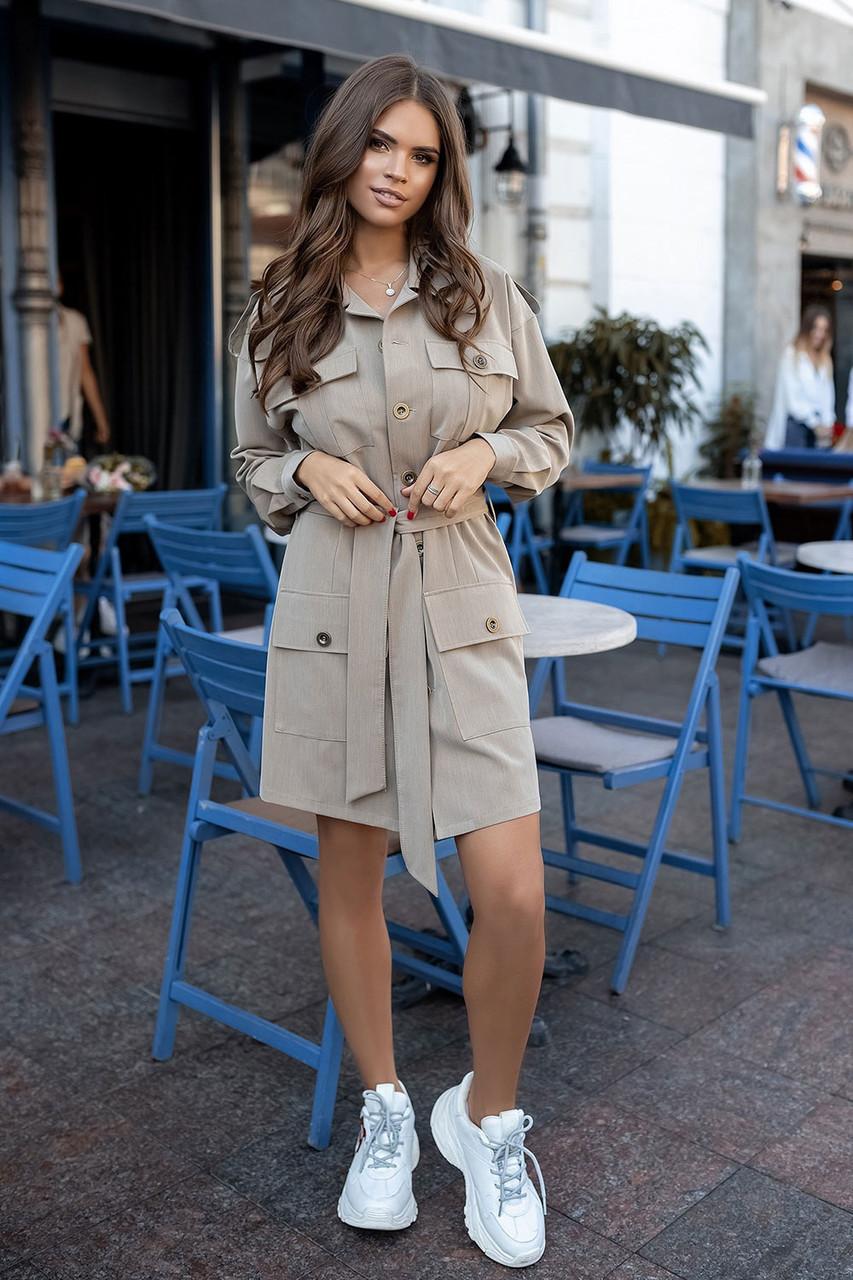 Бежевое платье сафари стиль