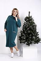 Прямое зеленое платье больших размеров