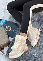 Ботинки женские зимние 8 пар в ящике бежевого цвета 36-41, фото 2