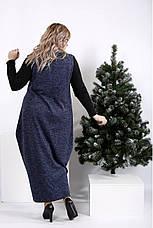 Довге синє плаття мішок для повних жінок, фото 3