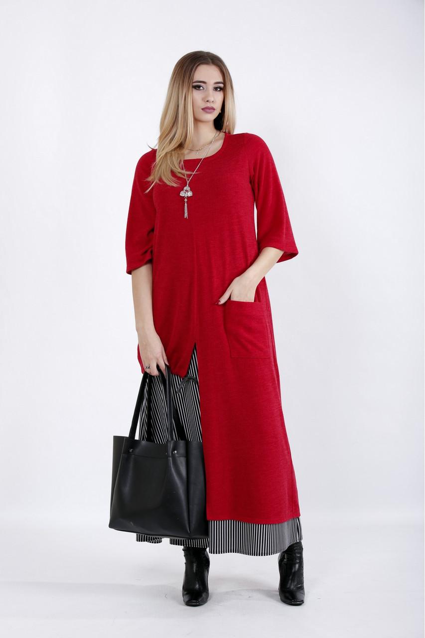 Красное длинное платье больших размеров