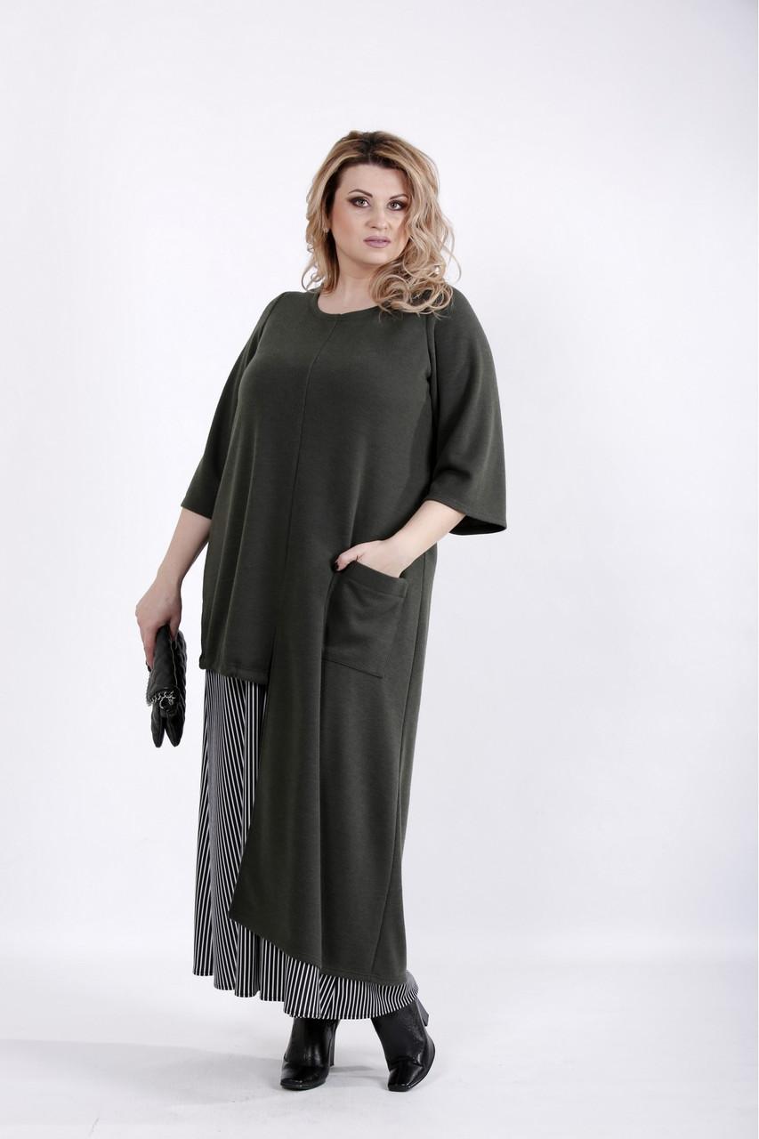 Интересное платье больших размеров хаки