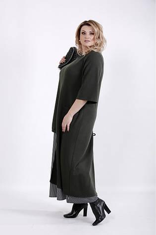 Интересное платье больших размеров хаки, фото 2