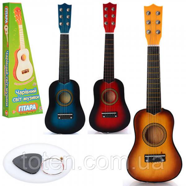 Гитара детская игровая M 1370  дерево, 52 см, струны 6 шт, запасная струна, медиатор, 3 цвета Т