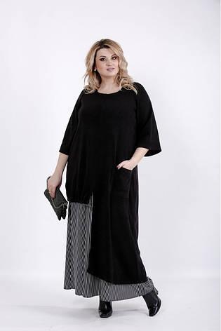 Черное длинное платье для полных женщин, фото 2