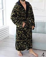 Вау!Мужской махровый халат Romance с капюшоном камуфляжный и 2 кармана