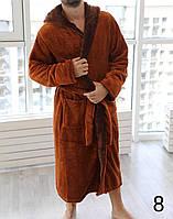 8-принтов!Мужской махровый светло-коричневый халат  Romance с капюшоном на запах и 2 кармана
