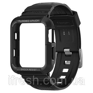 Чехол и ремешок Spigen для Apple Watch Rugged Armor Pro 2 in 1 (38mm), Black (058CS22407)