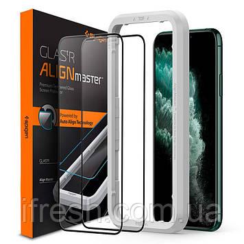 Защитное стекло Spigen для iPhone 11 Pro Max Glas.tR AlignMaster (2 шт) Black (AGL00479)