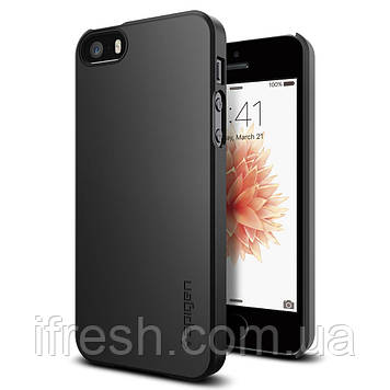 Чехол Spigen для iPhone SE/5S/5 Thin Fit, Smooth Black