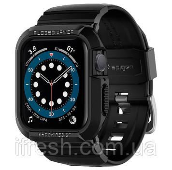 Чехол и ремешок Spigen для Apple Watch Series SE/6/5/4 (40mm) Rugged Armor Pro 2 in 1, Black (ACS00546)