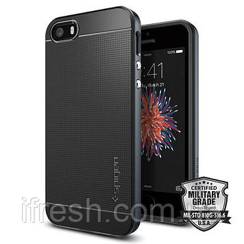 Чехол Spigen для iPhone SE/5S/5 Neo Hybrid, Metal Slate