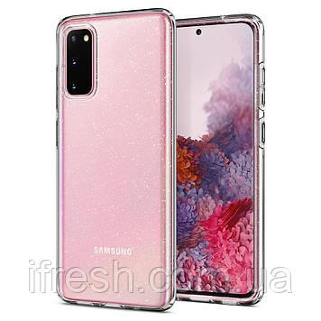 Чехол Spigen для Samsung Galaxy S20 Liquid Crystal Glitter, Crystal Quartz (ACS00995)