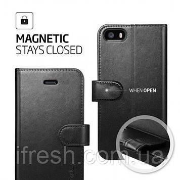 Книжка-Чехол Spigen для iPhone SE/5S/5 Wallet S, Black Leather