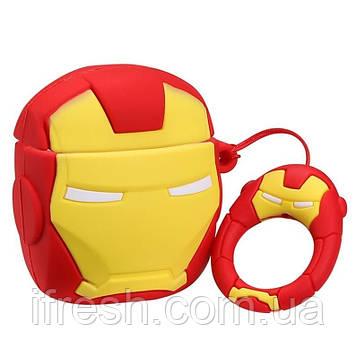 Чехол для Apple AirPods Iron Man Marvel 3D, силиконовый