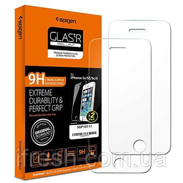 Защитное стекло Spigen для iPhone SE/5S/5, (упаковка 2 шт), (041GL20166)