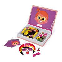 Развивающая игрушка Janod Магнитная книга Смешные лица - девочка (J02717)