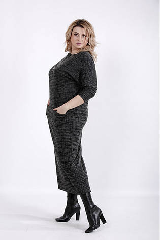 Чорне плаття в клітку для повних жінок, фото 2