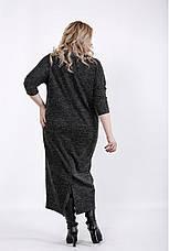 Чорне плаття в клітку для повних жінок, фото 3