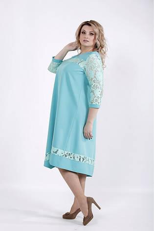 Бирюзовое нарядное платье для полных девушек, фото 2