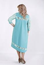 Бирюзовое нарядное платье для полных девушек, фото 3