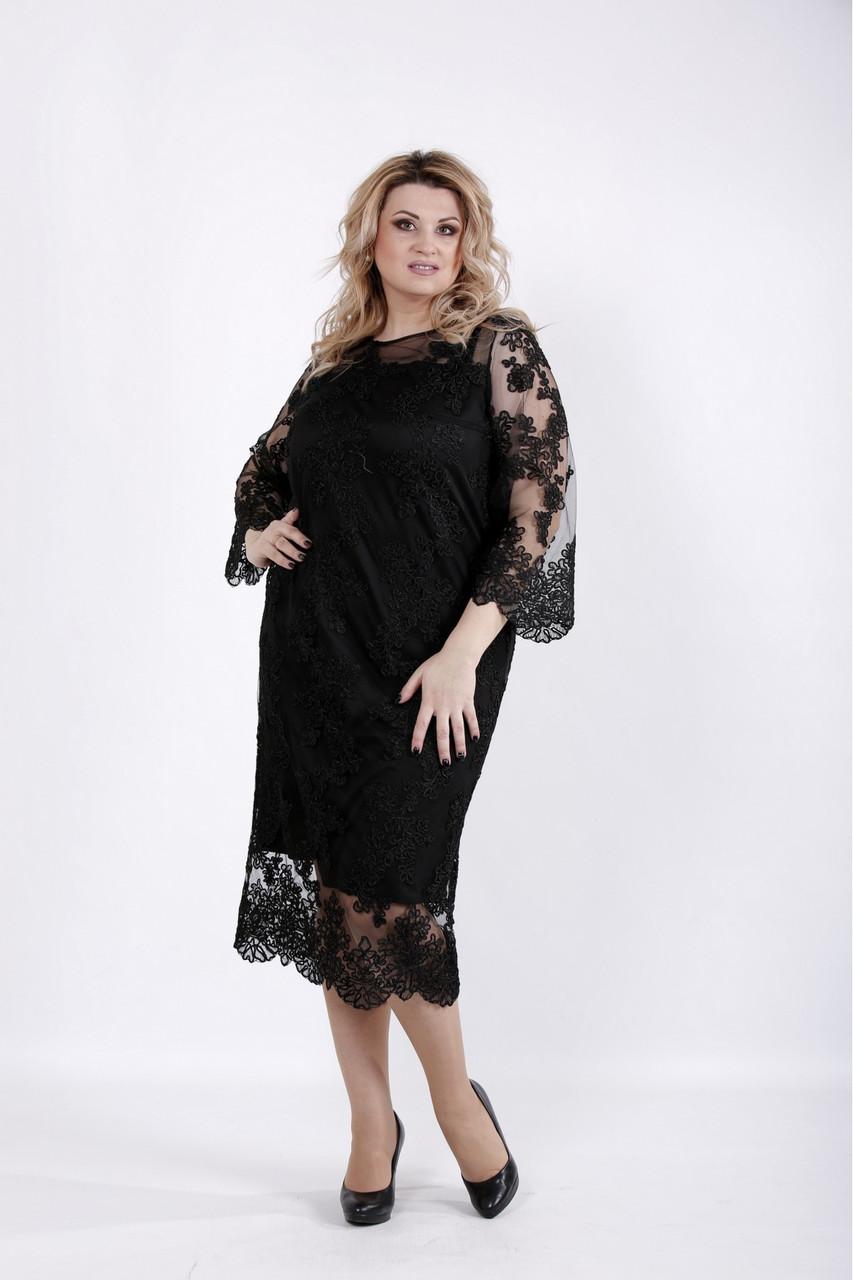 Шикарное черное вечернее платье для полных