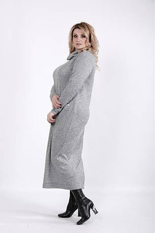 Серое платье больших размеров с карманами, фото 2