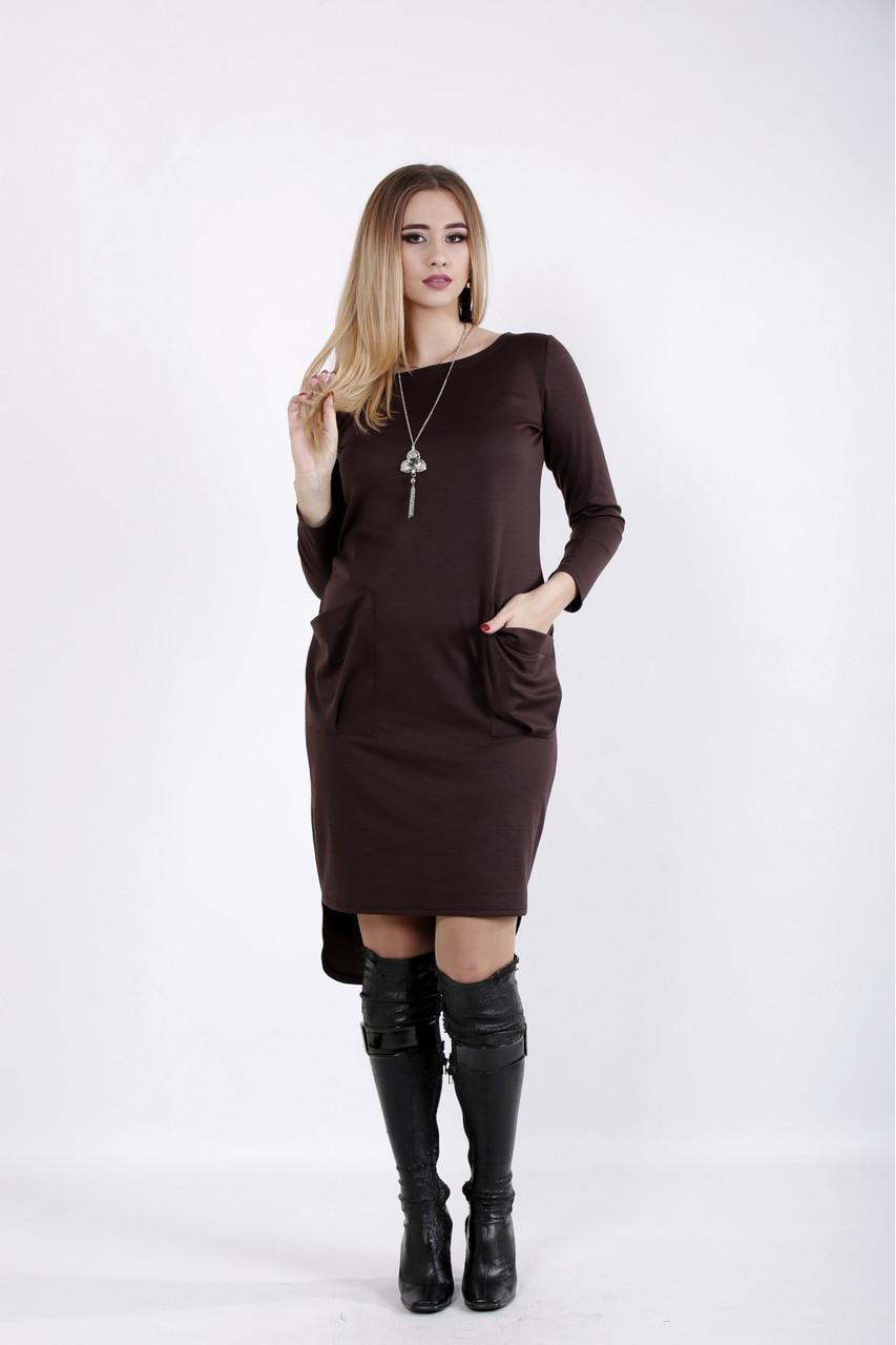 Коричневое асимметричное платье больших размеров