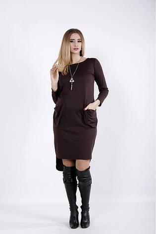 Коричневое асимметричное платье больших размеров, фото 2
