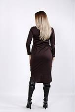Коричневое асимметричное платье больших размеров, фото 3