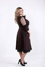 Приталенное платье для полных шоколад, фото 2