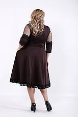 Приталенное платье для полных шоколад, фото 3
