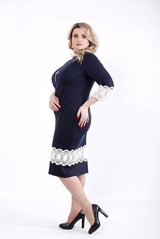Синее платье больших размеров с кружевом, фото 2