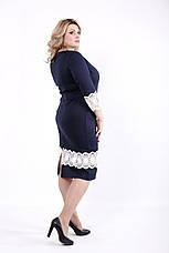 Синее платье больших размеров с кружевом, фото 3
