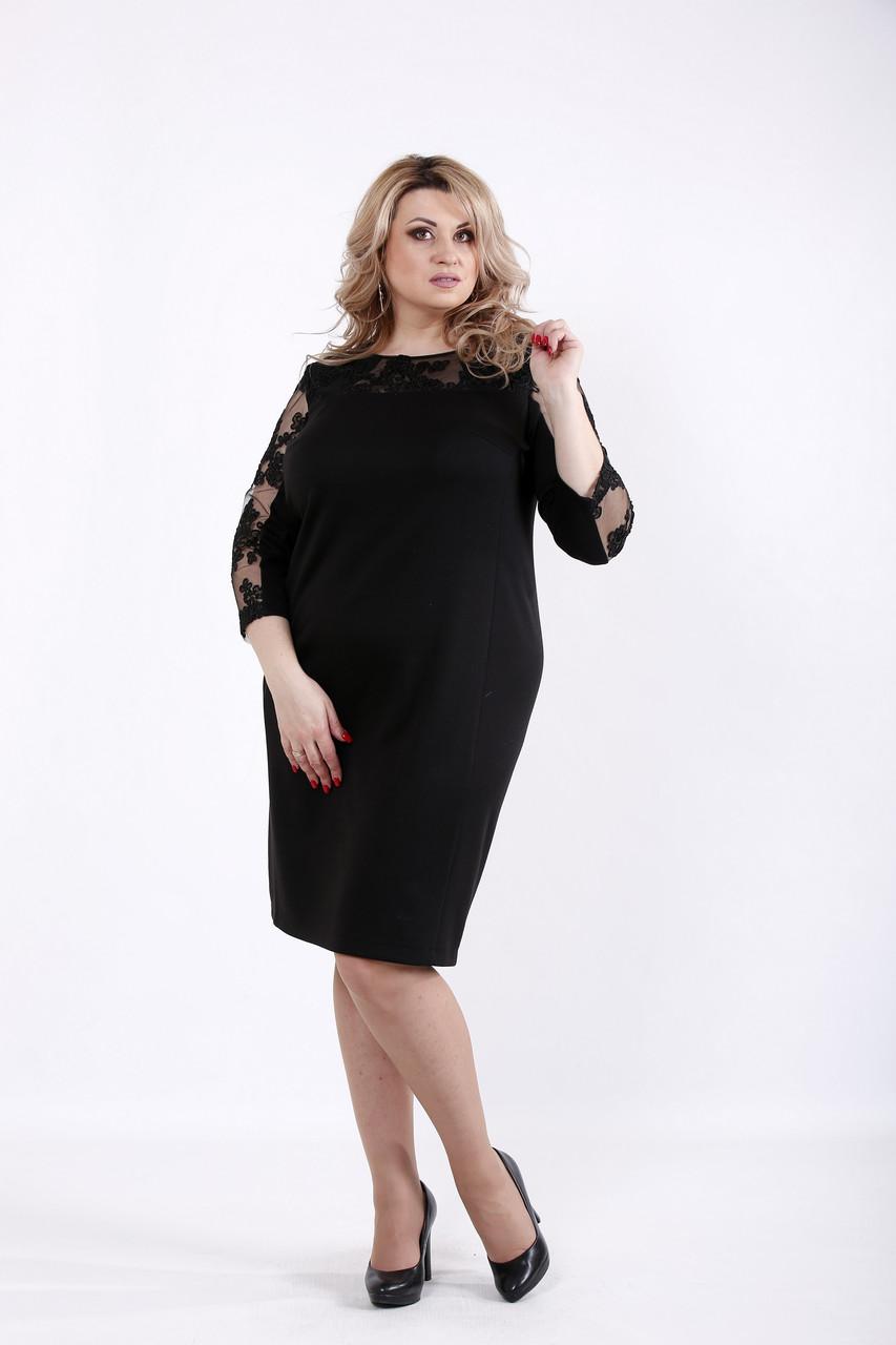 Элегантное черное платье для полных женщин