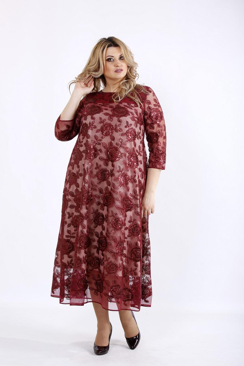 Бордовое нарядное платье для полных