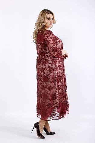 Бордовое нарядное платье для полных, фото 2