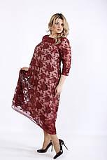 Бордовое нарядное платье для полных, фото 3