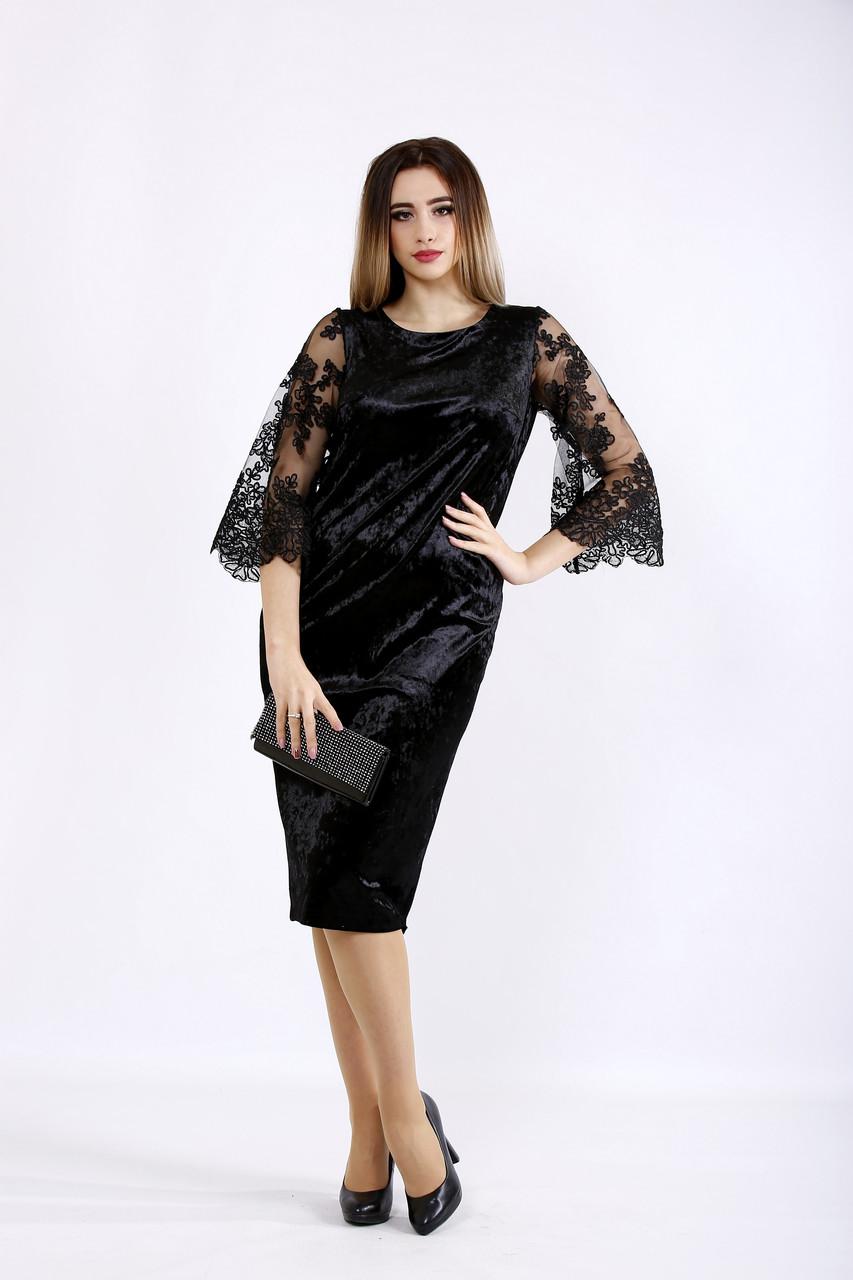 Черное платье из велюра для полных