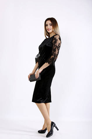 Черное платье из велюра для полных, фото 2