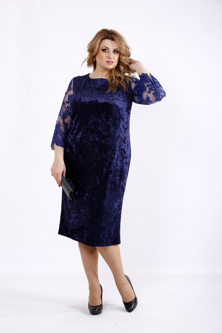 Синее бархатное платье большого размера