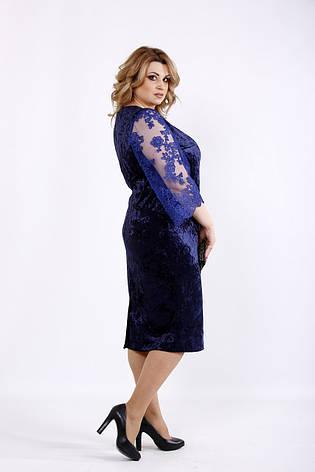 Синее бархатное платье большого размера, фото 2
