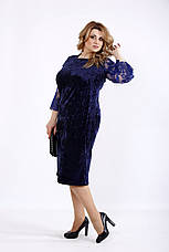 Синее бархатное платье большого размера, фото 3