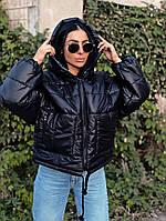 Курточка женская стеганая, куртка на зиму из плащевки, курточка короткая теплая, зимняя куртка с капюшоном