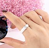 Керамическое белое женское кольцо с кристаллами код 1370, фото 3