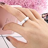 Керамическое белое женское кольцо с кристаллами код 1370, фото 4